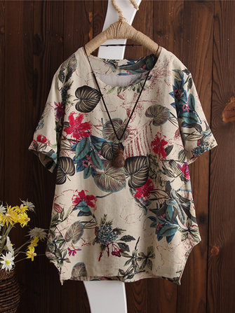 Retro Floral Print Short Sleeve Irregular Blouse