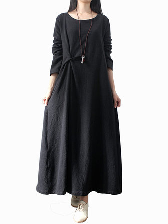 L-5XL Casual Women Fold Maxi Dress
