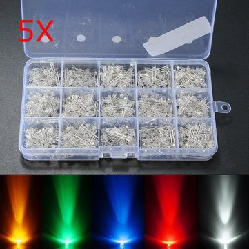 5 Set 750Pcs-in-1-set 3mm Diodes LED Light Yellow Red Blue Green White Assortment DIY Kit