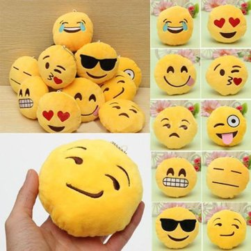 8CM Cute Individuality Emoji Expression Key Rings Plush Keychains