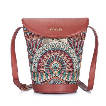 Buy Brenice Women Bohemian Series Canvas Bucket Bag Drawstring Sling Bag Shoulder Crossbody Bag for $21.90 in Banggood store