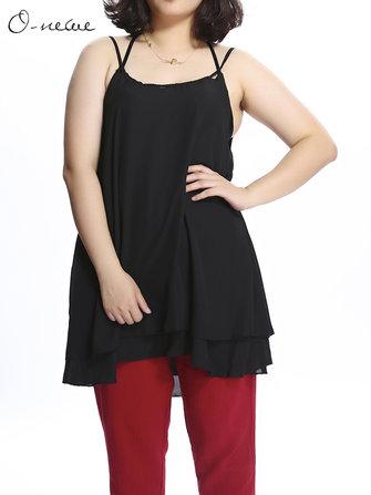 Plus Size Women Strap Pure Color Chiffon Tank Tops
