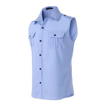 MensFashionCasualSolidColorPersonnalité sans manches Slim Fit Turn-down Collar Shirt