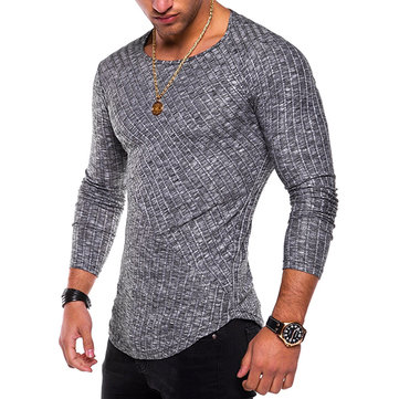 Snowflake Pits Spliced ​​Hombre Pullover Moda Color sólido Long-Sleeved Delgado Fit Casual T-shirt