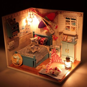 Hoomeda Summer Romance DIY Wood Dollhouse Miniature With LED Furniture Cover