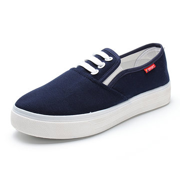 Casual Breathable Rubber Canvas Sneakers Running Slip-on Flats Shoes