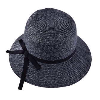 LYZA Women Summer Large Brim Sunscreen Straw Hat Elegant Bow Tie Breathable Beach Caps