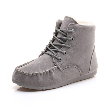 Winter Faux Fur Lining Suede Warm Ankle Short Snow Boots