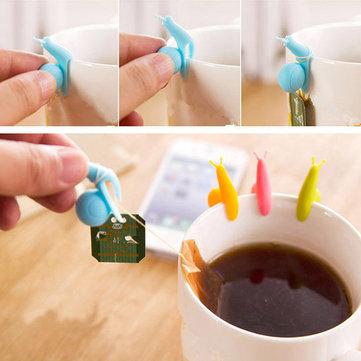 5pcs carino lumaca mini supporto bustina di tè della clip tazza impiccagione