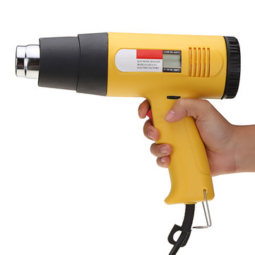 2000W AC 220V LCD Digital Hot Air Heat Gun Temperature Adjustable Nozzle Yellow