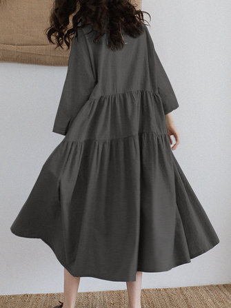 Vintage Women Loose Long Sleeve Flip Button Collar A Line Fold Dress