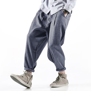 Mens Cotton Breathable Loose Striped Pockets Vintage Baggy Style Pants