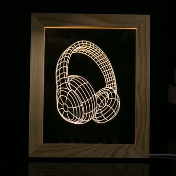 KCASA FL-703 3D Photo Frame Illuminative LED Night Light Wooden Earphone Desktop Decorative USB Lamp