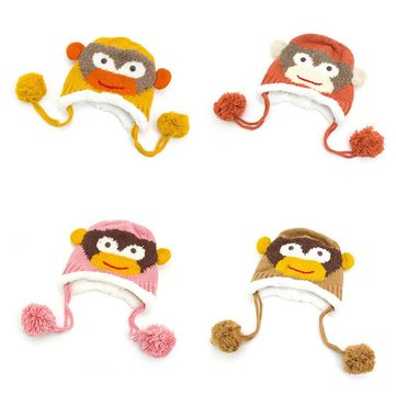Kid Girls Boys Baby Crochet Cute Winter Beanie Warm Cartoon Acrylic Hat Monkey Earflap Braids Knitted Soft Cap