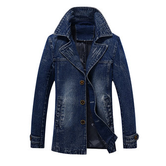 Mens Mid Long Denim Jackets Single Breasted Lapel Jeans Coat