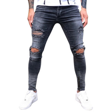 Men Street Style Zipper Skinny Ripped Cotton Slim Jeans