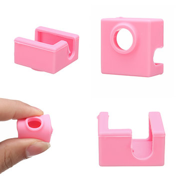 MK9 Pink Silicone Protective Case for Heating Aluminum Block 3D Printer Part Hot End
