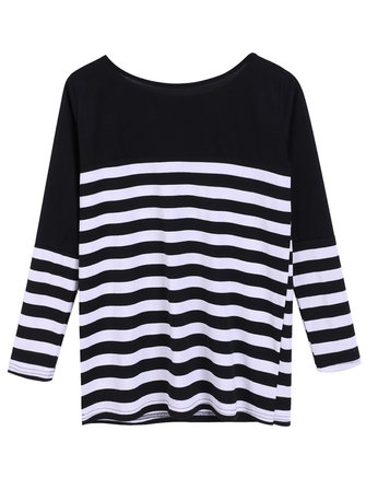 Casual Loose Stripe Batwing Sleeve Women T-Shirt