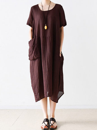 Women Vintage Short Sleeve Pocket Casual Loose Baggy Dress