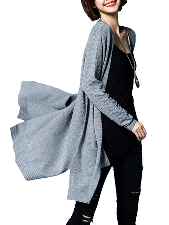 Casual Women Elegant Long Sleeve Loose Long Knitted Cardigan