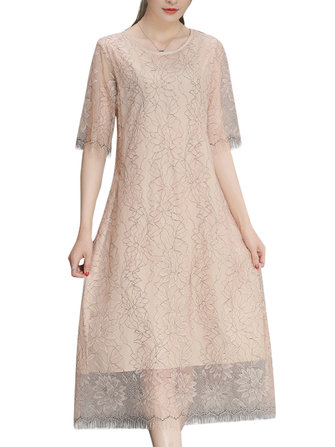 Elegant Lace Hollow Out Half Sleeve Slim Dress For Women