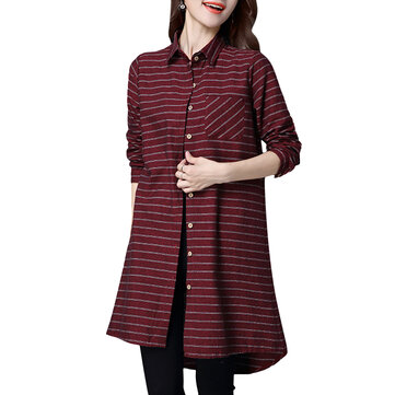 Elegant Stripe Long Sleeve Loose Cotton Women Shirt
