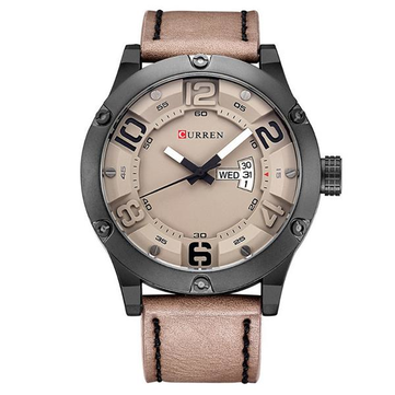 CURREN 8251 Fashion Large Number Display Men Quartz Watch Casual Leather Strap Sport Watch