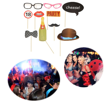 10pcs Photo Booth Props Mask Mustache Stick 18 Year Old Birthday Party Number Card