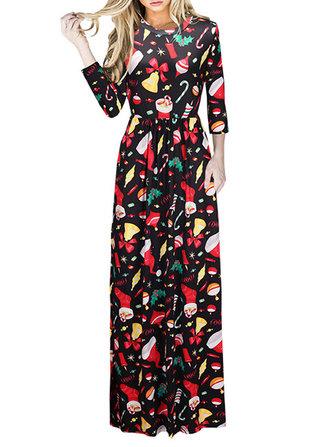 크리스마스 캐주얼 여성 긴 소매 느슨한 맥시 드레스 인쇄