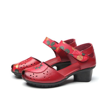 SOCOFY Hollow Handmade Pattern Genuine Leather Sandals