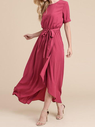 Elegant Women Loose Elastic Waist Irregular Split Hem Dress