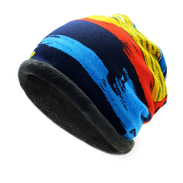 Mens Womens Winter Plus Cashmere Stripe Beanie Scarf