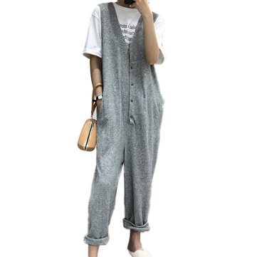 Women Sleeveless Button V-neck Jumpsuit