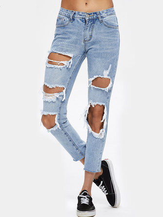 Casual Women Ripped Hole Mid Rise Cropped Jeans