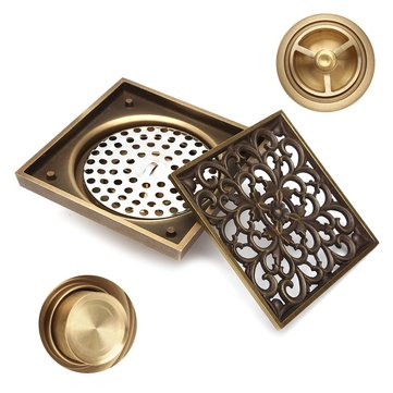 Antique Brass Square Floor Drain for Bathroom Kitchen w/ Strainer Grate 10X10X4.5cm