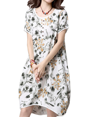 Vintage Women Flower Ink Printing Summer High Low Dress