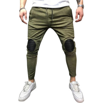 Cotton Patchwork Elastic Waist Hip Hop Skinny Pants for Men