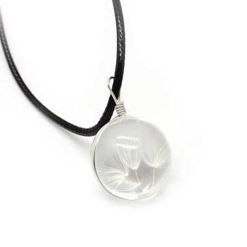 Trendy Glass Dried Flower Ball Dandelion Pendant Leather Chain Women Necklace