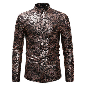 Ethnic Style Mens Stand Collar Shirts