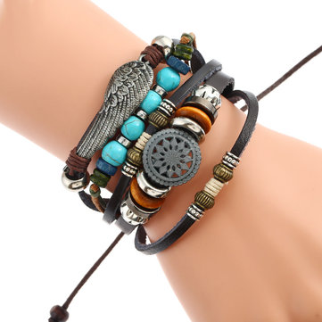 Adjustable Black Braided Leather Bracelet Multilayer Weave Bracelets Wing Turquoise Beads Bracelet