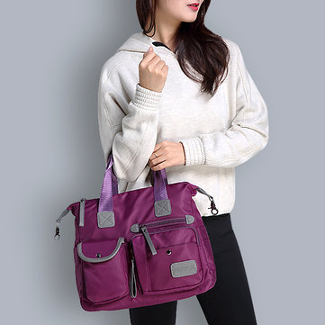 Women Nylon Waterproof Large Capacity Multi Pocket Multifunction Handbag Crossboby Bag