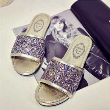 Peep Toe Slip On Bling Flat Sandals Causal Slippers