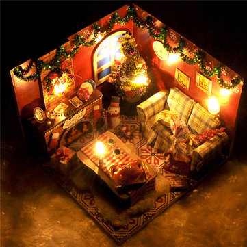 DIY Christmas Room Doll House Miniatures Dollhouse With Cover LED Light Furniture Wooden Toy Gift Decor
