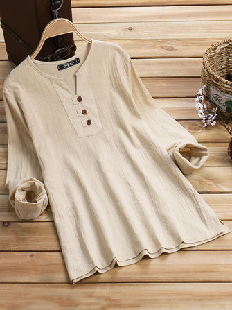 Casual Women Cotton Linen V-Neck Long Sleeve Blouse