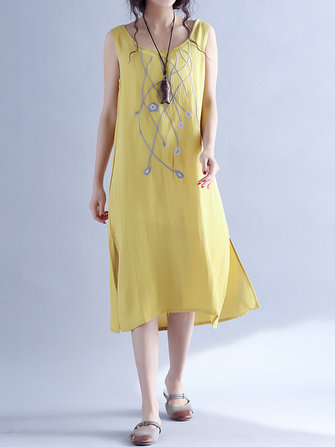 Vintage Loose Embroidery Sleeveless Women Dresses