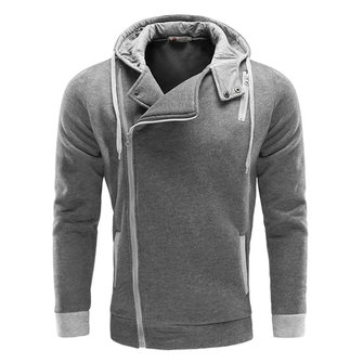 Mens Casual Side Zipper Hoodies Solid Color Outdoor Sport Cotton Hooded Coat
