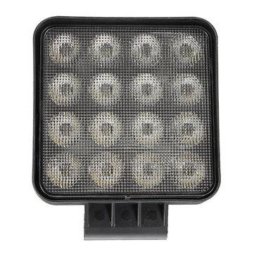 27W 3200Lm 16 LED Work Light Flood Beam Square Driving Lamp for Off Road SUV Truck