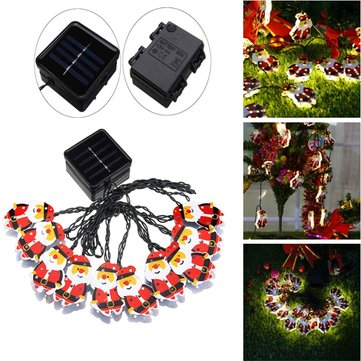 Solar/Battery Powered 4M 10LEDs Warm White Santa Claus Shaped Fairy String Light for Christmas