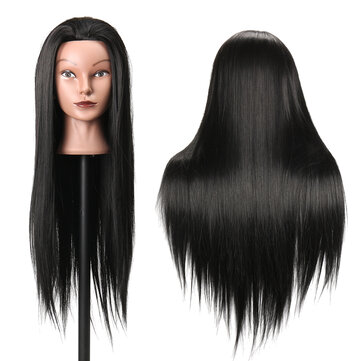 27Inch Black 30% Human Hair Hairdressing Training Mannequin Practice Head Salon Profession