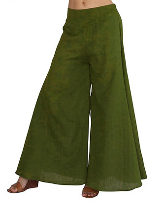 Loose Women Trousers Wide Leg Irregular Hem Culottes